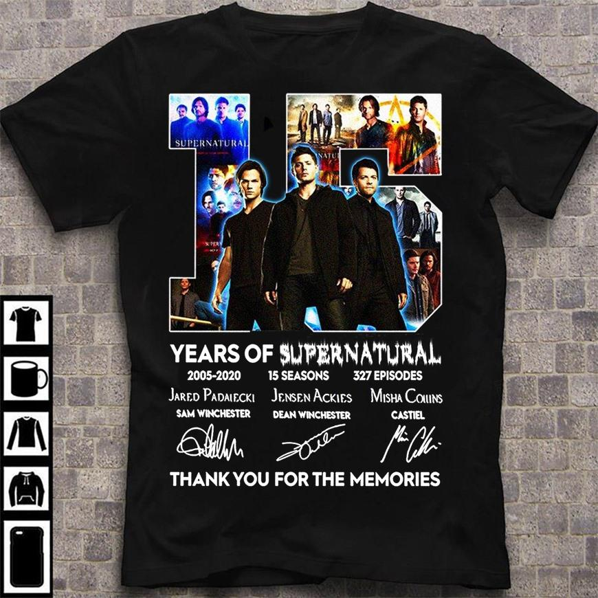 15 Years Of Supernatural And Signatures Thank You For The Memories Shirt