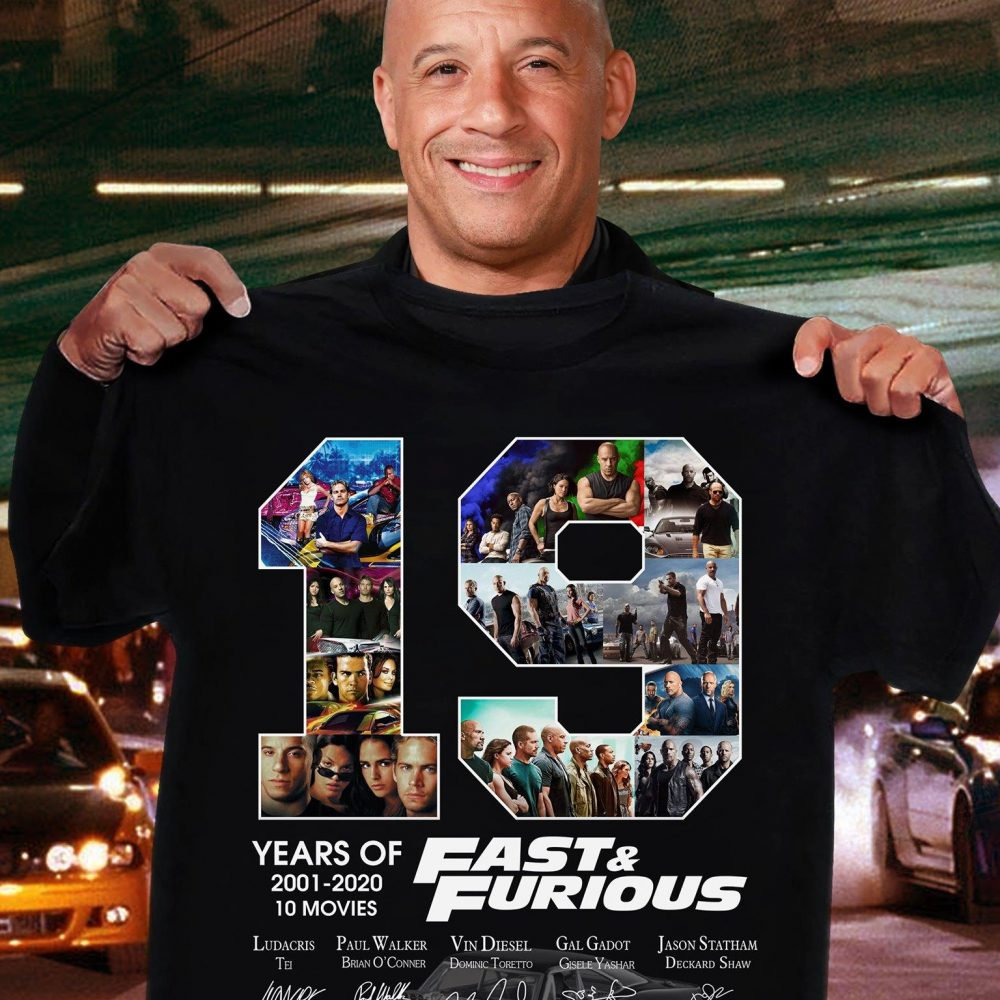 19 Years Of Fast Of Furious 2001 - 2020 Members Signature Shirt