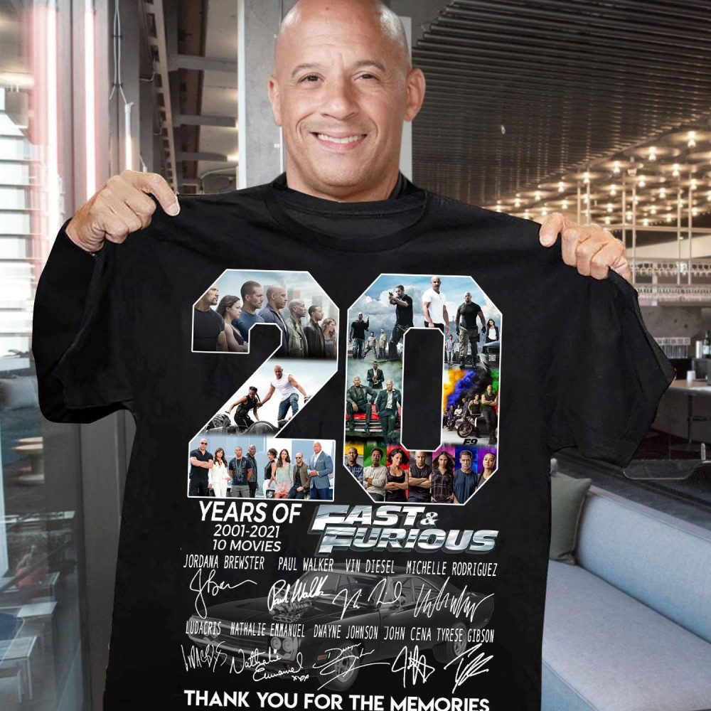 20 Years Of Fast And Furious Members Signature And Thank You For The Memories Shirt