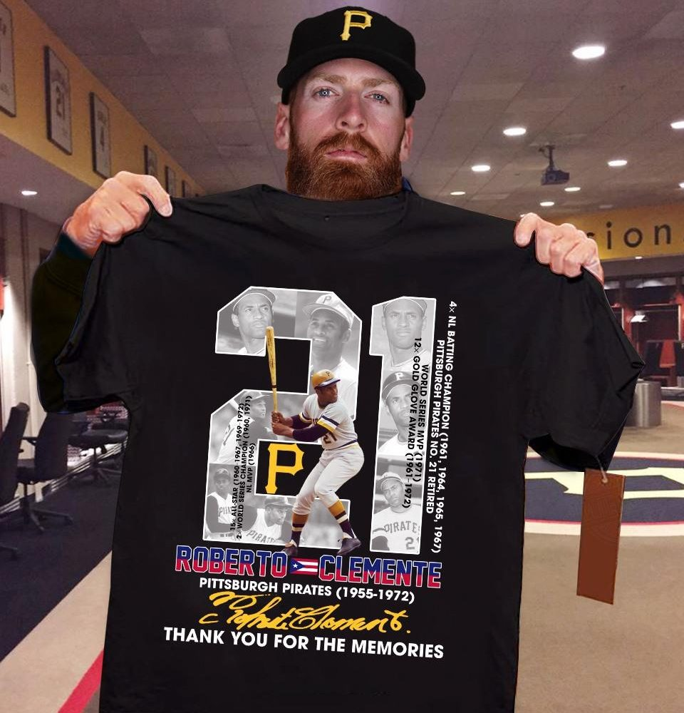 21 Years Of Roberto Clemente Signature And Thank You For The Memories Shirt