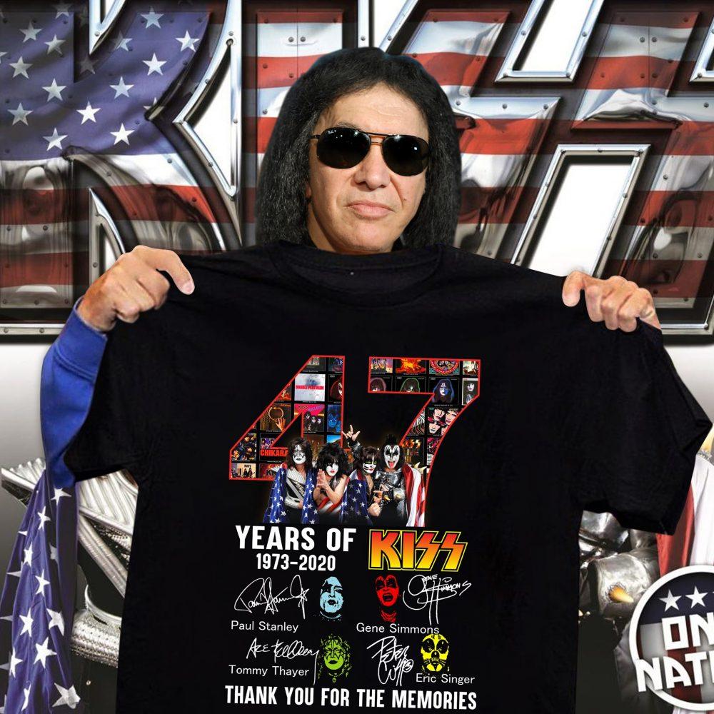 47 Years Of Kiss 1973 - 2020 And Members Signature Shirt