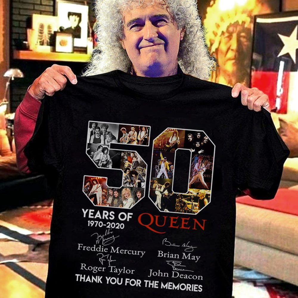 50 Years Of Queen 1970 - 2020 Thank You For The Memories Anhd Signatures Shirt