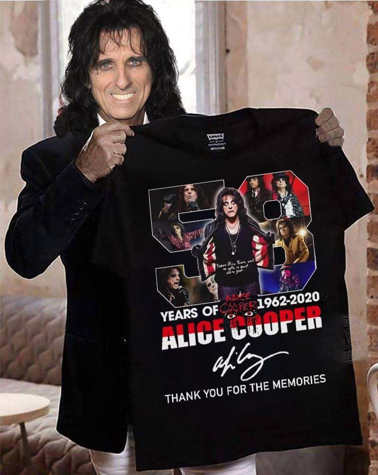 58 Years Of 1962 - 2020 Alice Cooper Signature And Thank You For The Memories Shirt