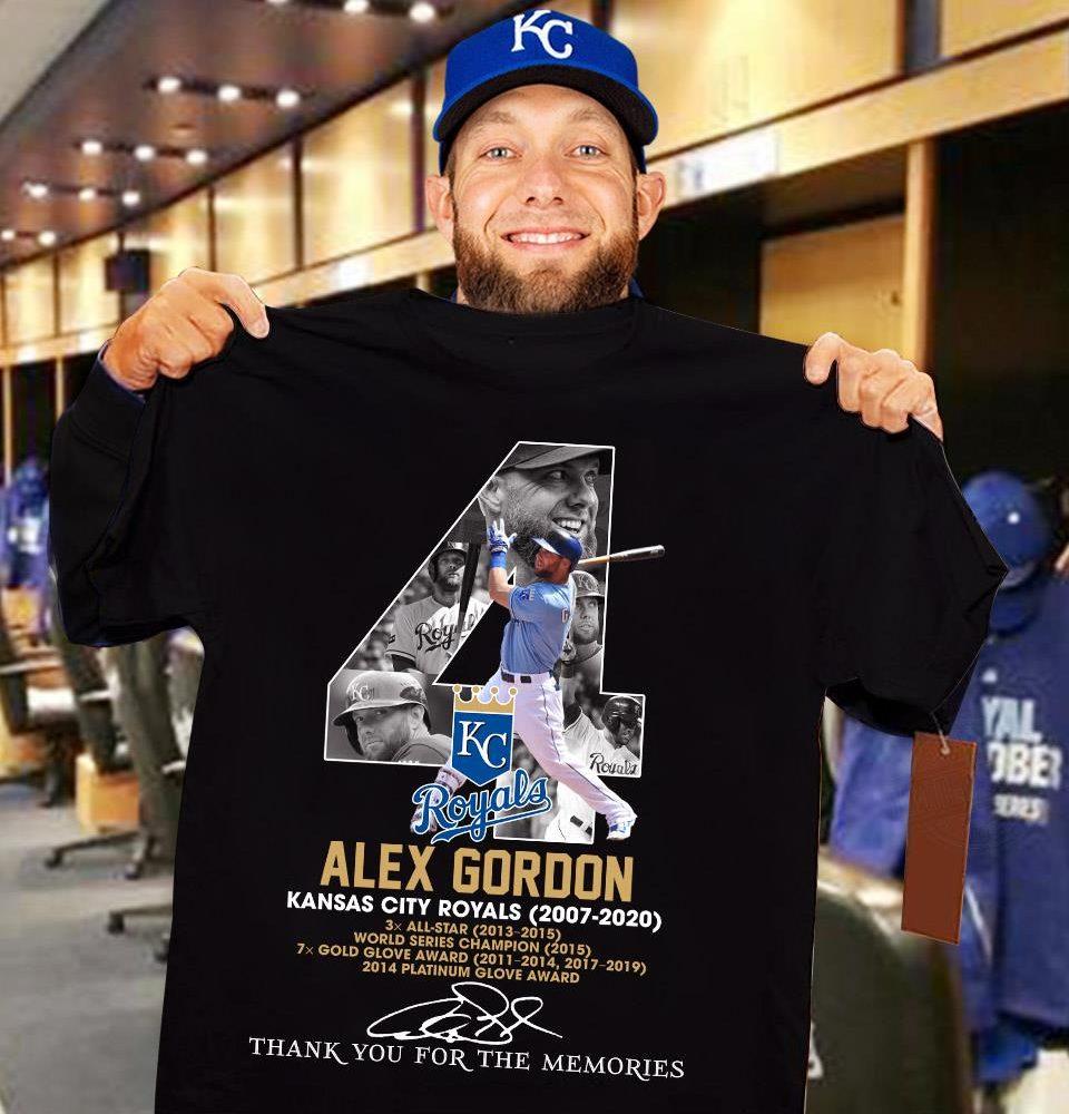 Alex Gordon Kansas City Royals 2007 - 2020 Signature And Thank You For The Memories Shirt