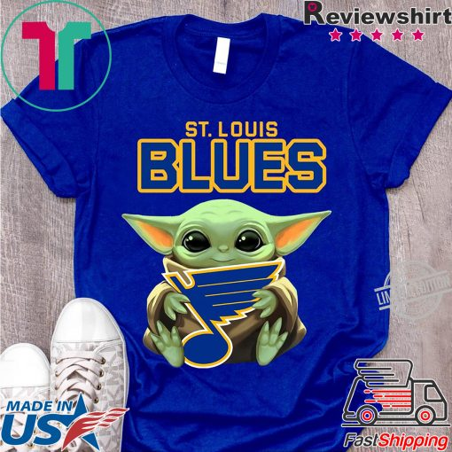 Baby Yoda Hug St Louis Blues Logo Shirt