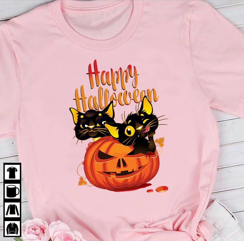 Cat And Pumpkin Happy Halloween Shirt