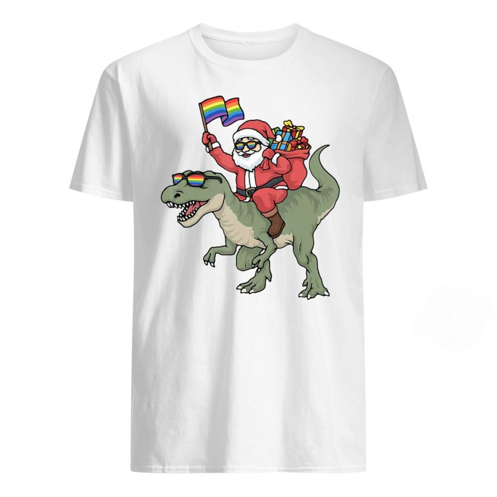Christmas Lgbt Santa Claus Trex Rainbow Gay Pride Shirt
