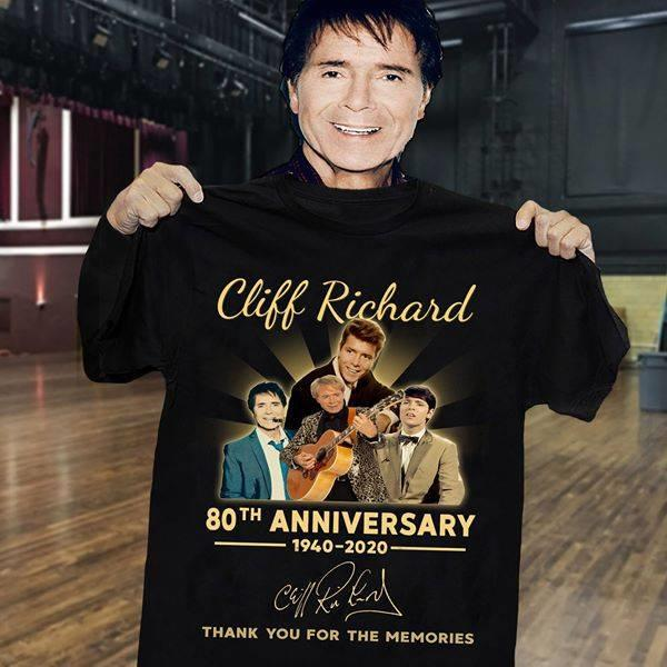 Cliff Richard 80th Anniversary 1940 - 2020 Signature And Thank You For The Memories Shirt
