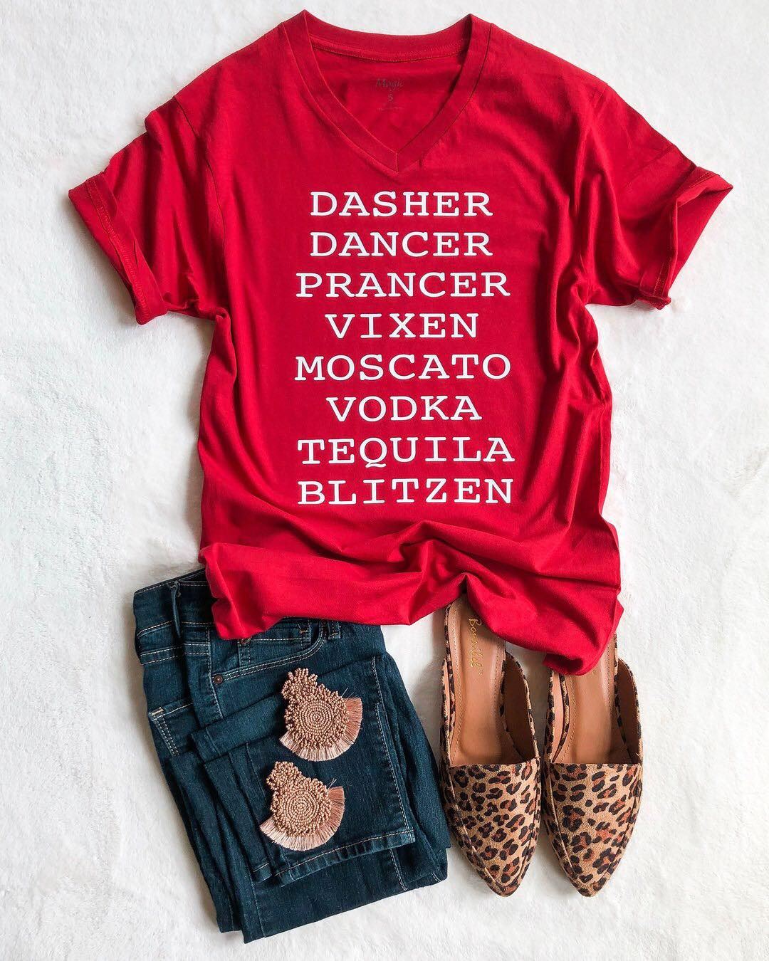 Dasher Dance Prancer Vixen Moscato Vodka Tequila Blitzen Shirt