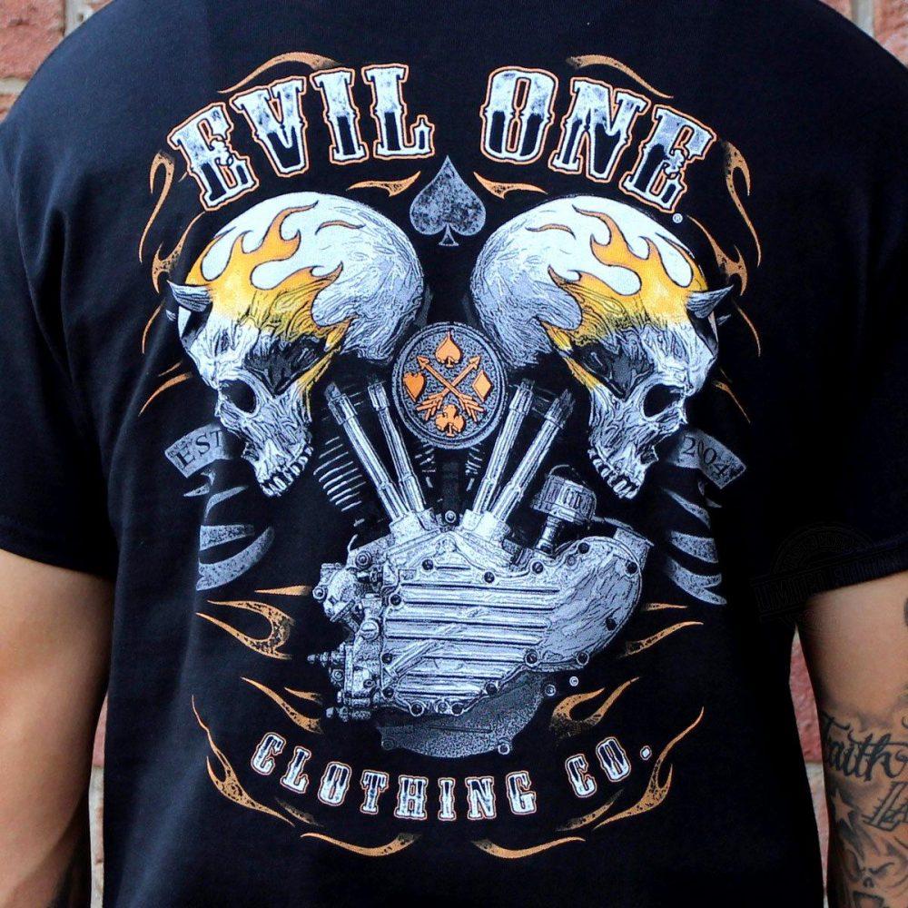 Demon Head Flaming Skulls Biker Shirt