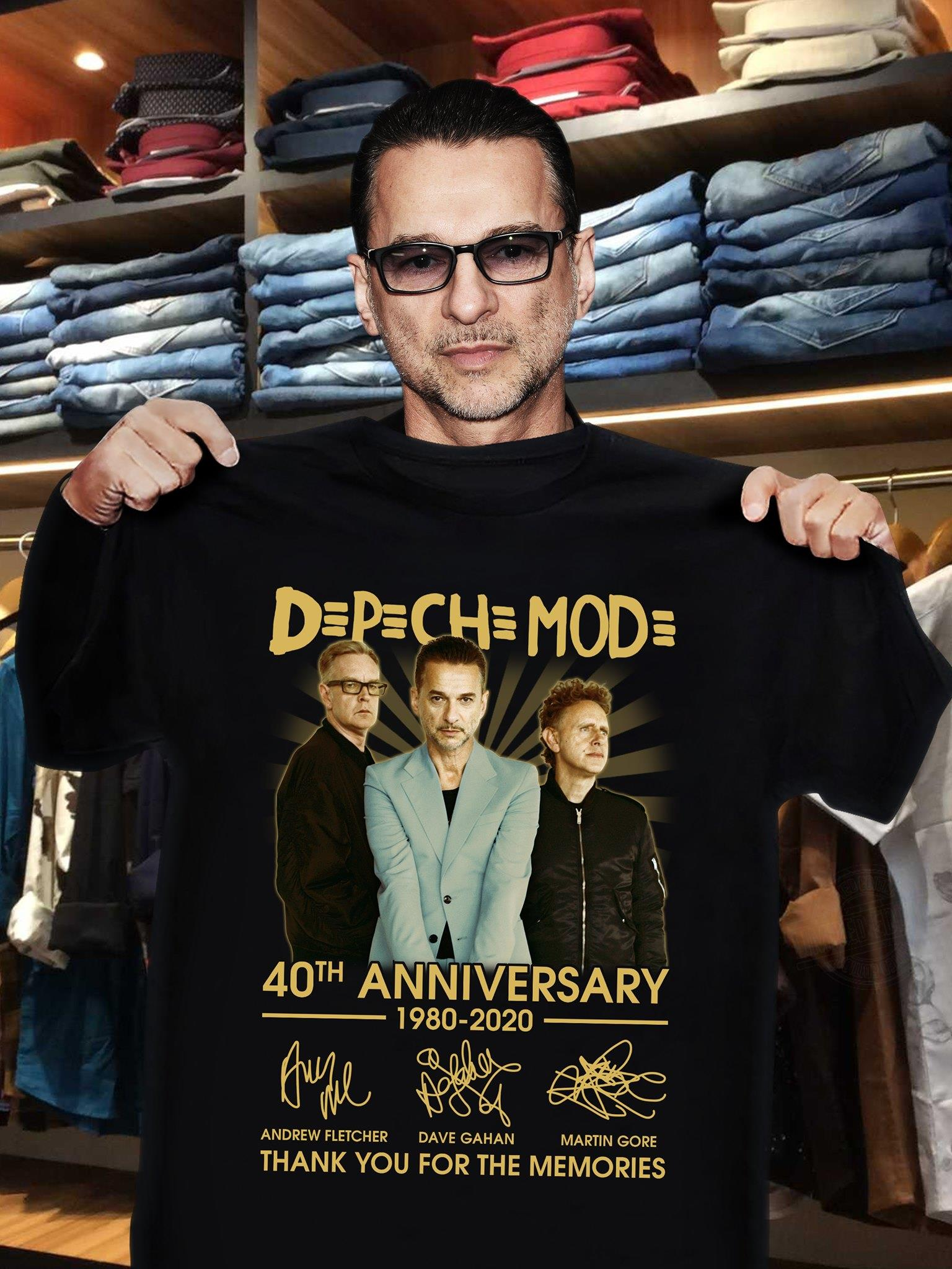 Depeche Mode 40th Anniversary 1980 - 2020 Members Signature And Thank You For The Memories Shirt