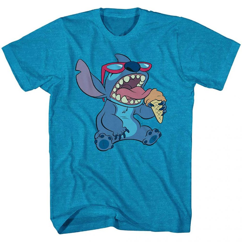 Disney Lilo and Stitch Ice Cream Cone Tee Funny Humor Disneyland Graphic Shirt
