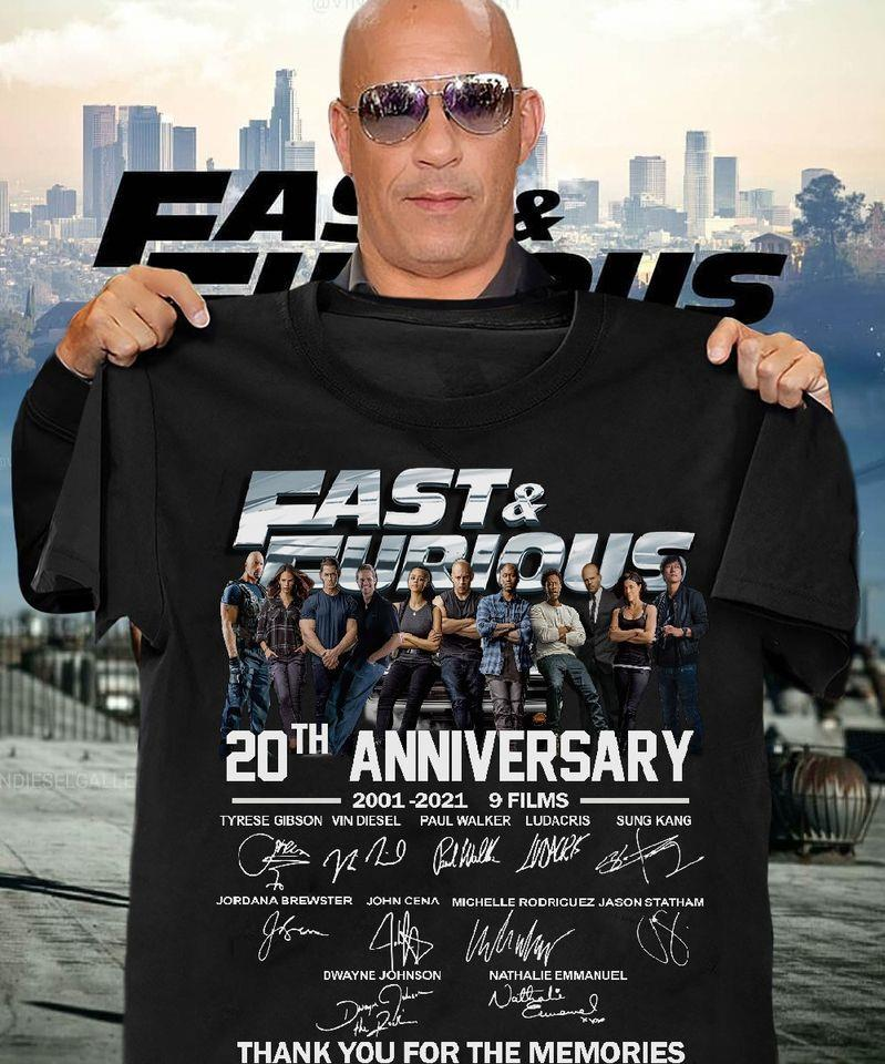 Fast And Furious 20th Anniversary Members Signature Shirt
