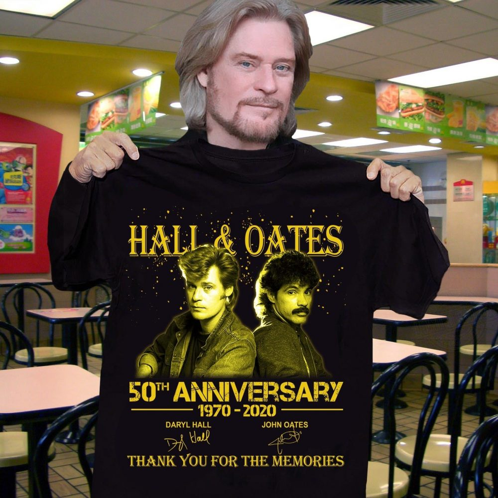 Hall And Oates 50th Annivesary 1970 - 2020 Members Signature And Thank You For The Memories Shirt