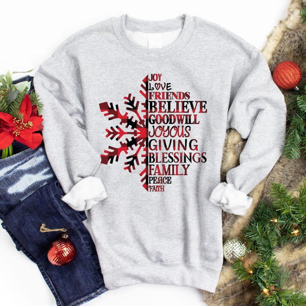 Joy Love Friends Believe Goodwill Joyous Giving Blessings Family Peace Faith Shirt