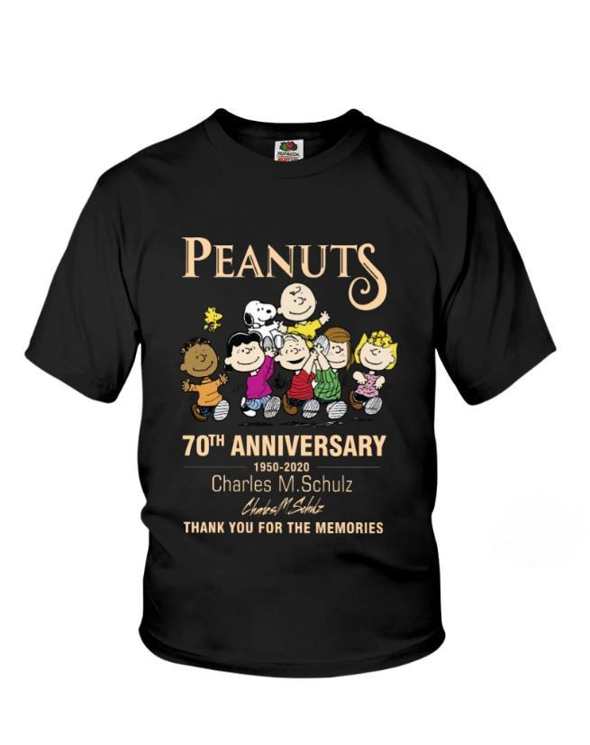 Peanuts 70th Anniversary 1950 - 2020 Charles M Schulz Signature And Thank You For The Memories Shirt
