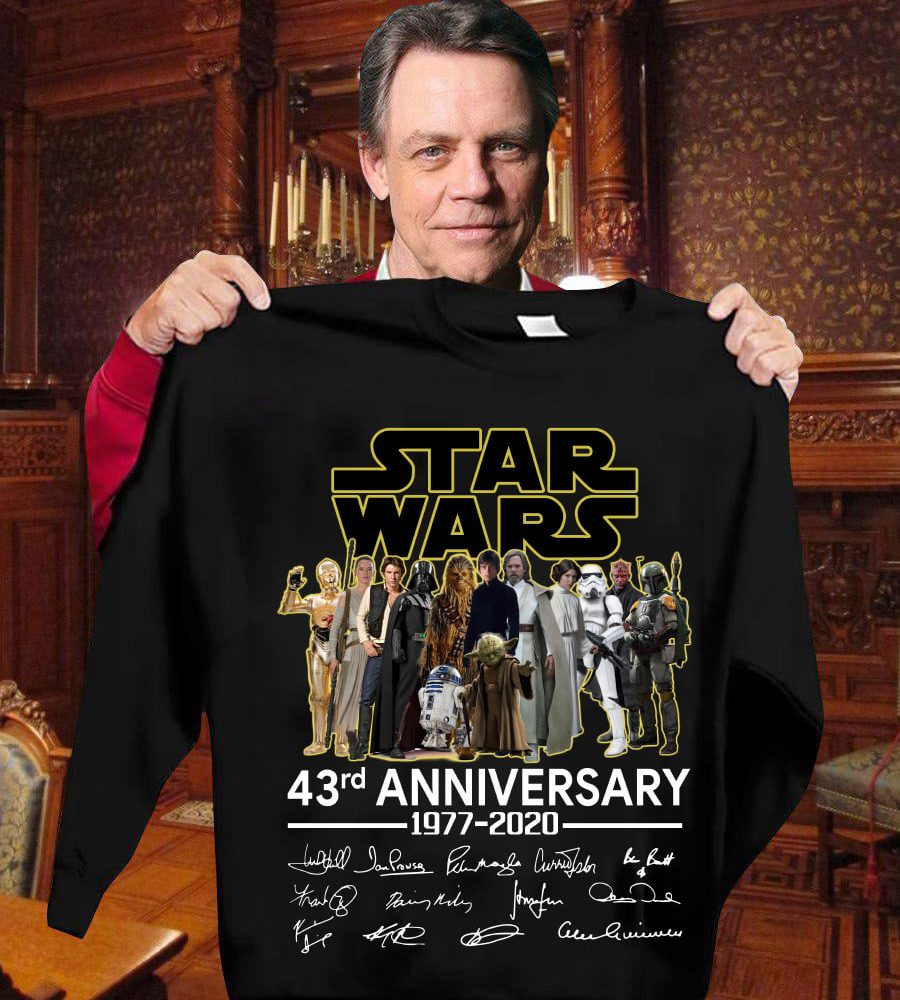 Star War 43rd Anniversary 1977 - 2020 And Characters Signatures Shirt