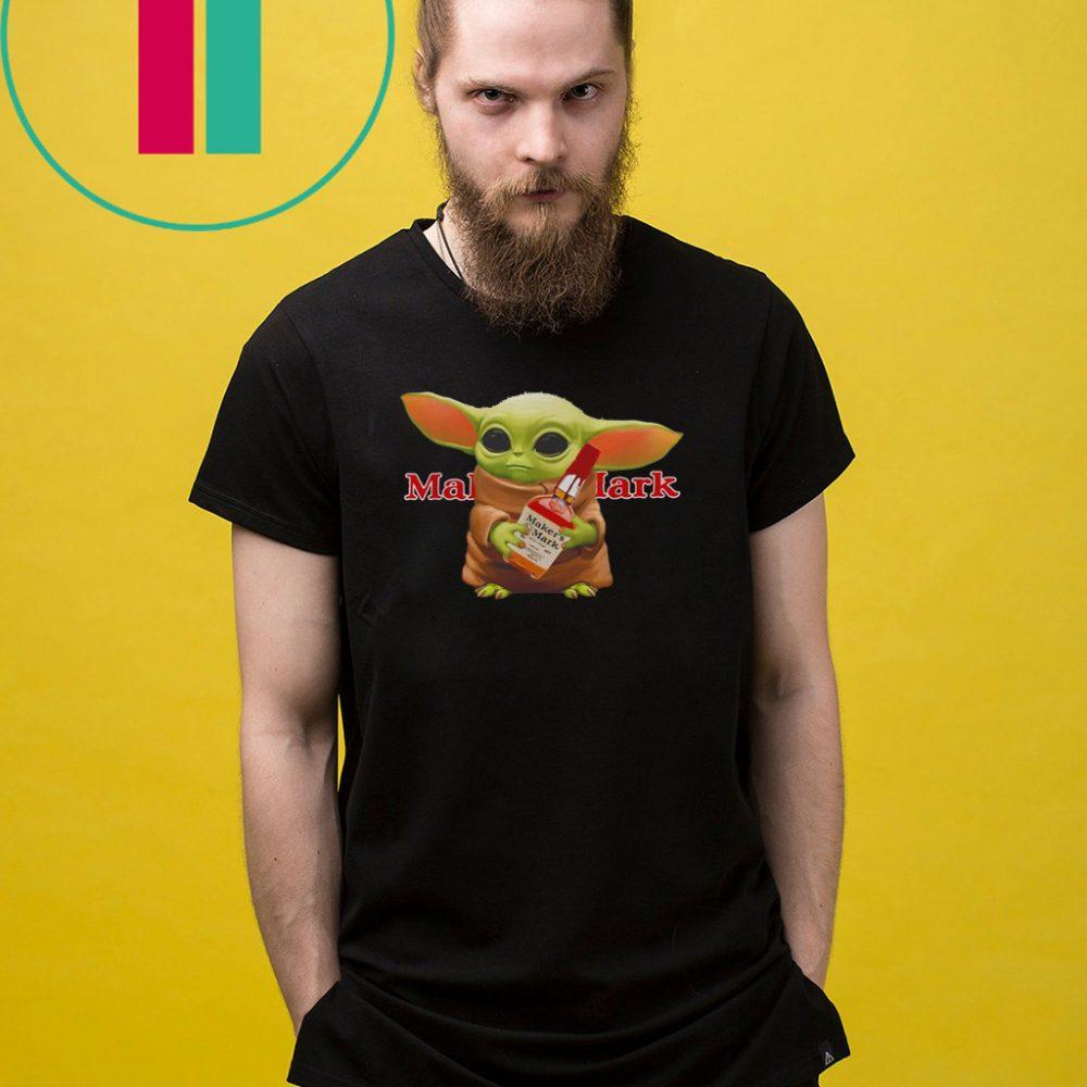 Star Wars Baby Yoda hug Maker's Mark Whiskey Shirt