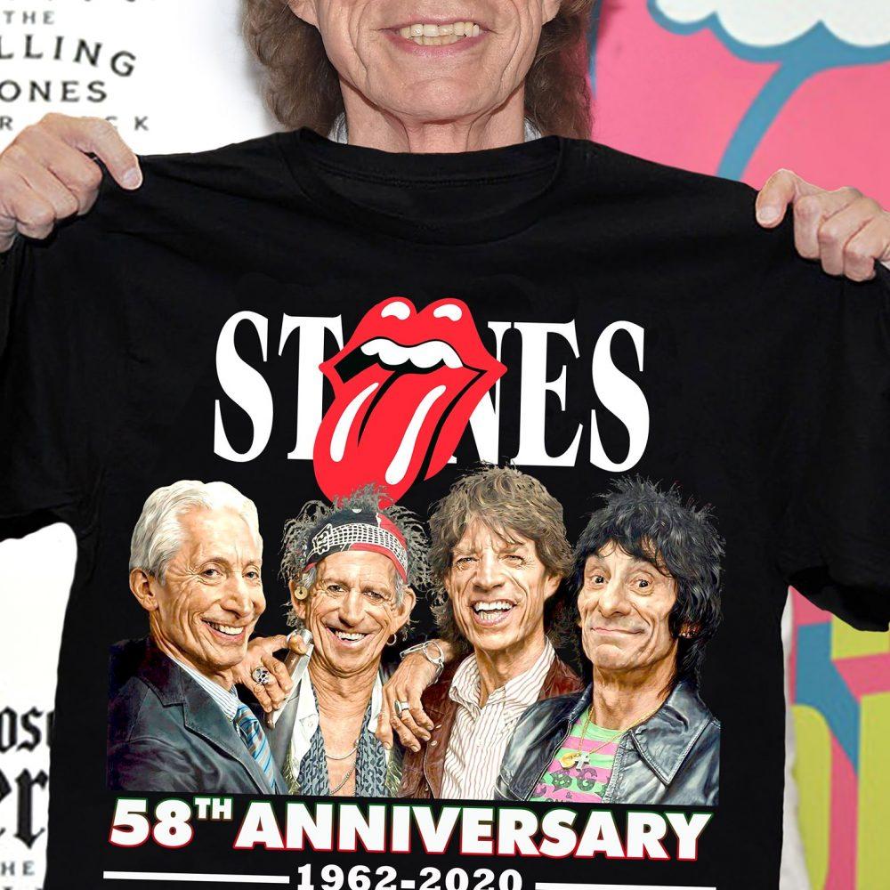 Stones 58th Anniversary 1962 - 2020 And Members Signature Shirt