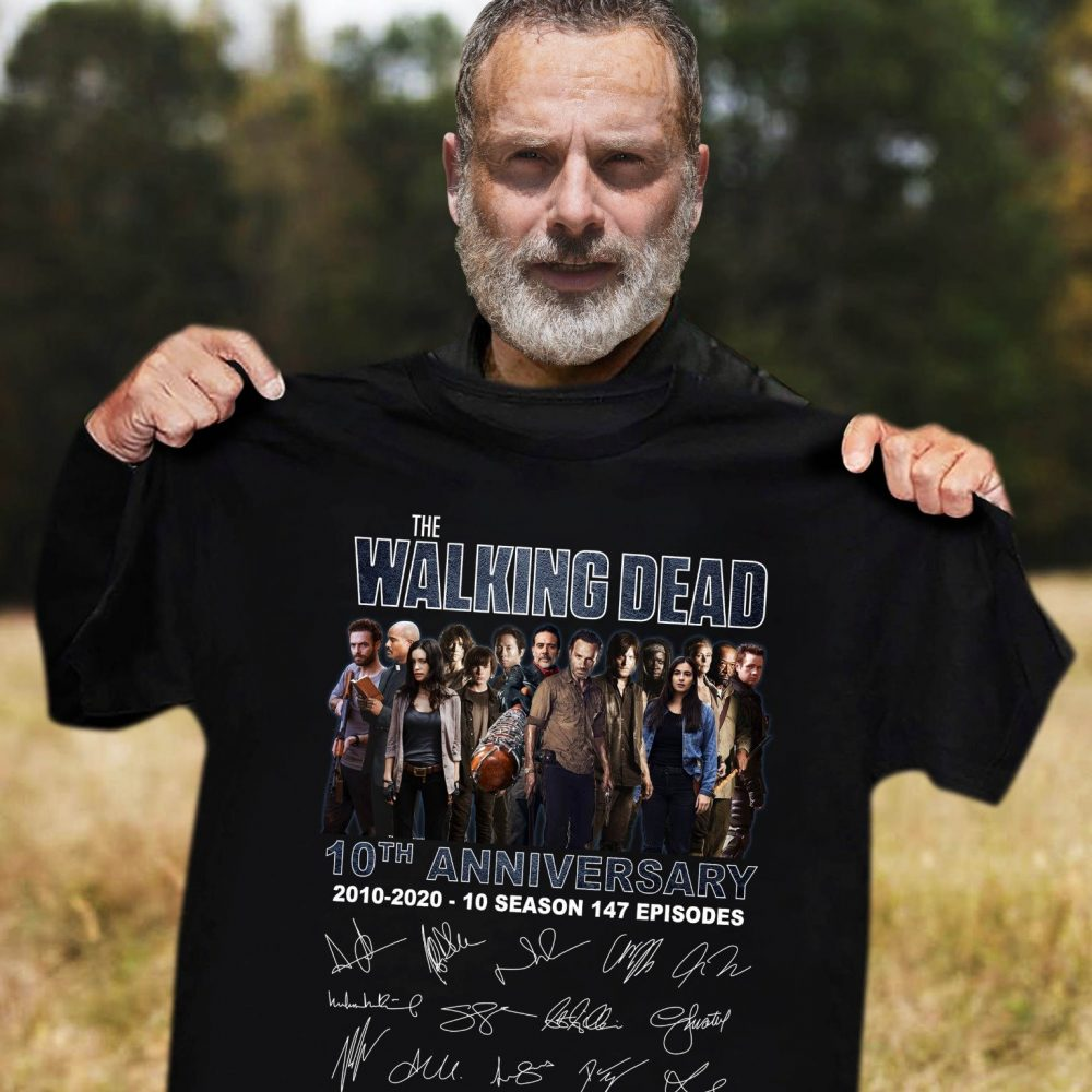 The Walking Dead 10th Anniversary And Characters Signature Shirt